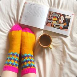hand knitted colourful socks comfy socks yellow pink terquoise purple lounge socks handmade