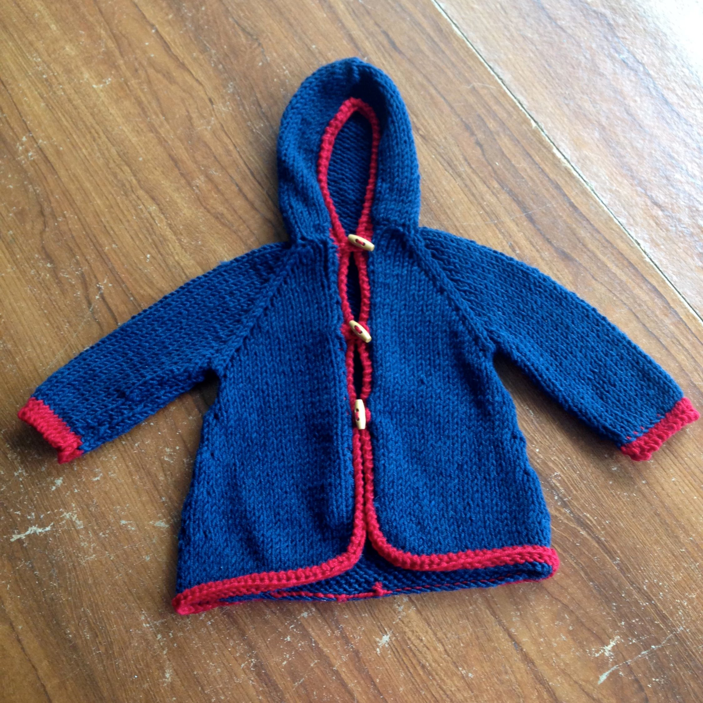 knitted Blue and Red baby hoodie