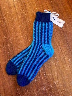 knitted Navy turquoise stripe sock