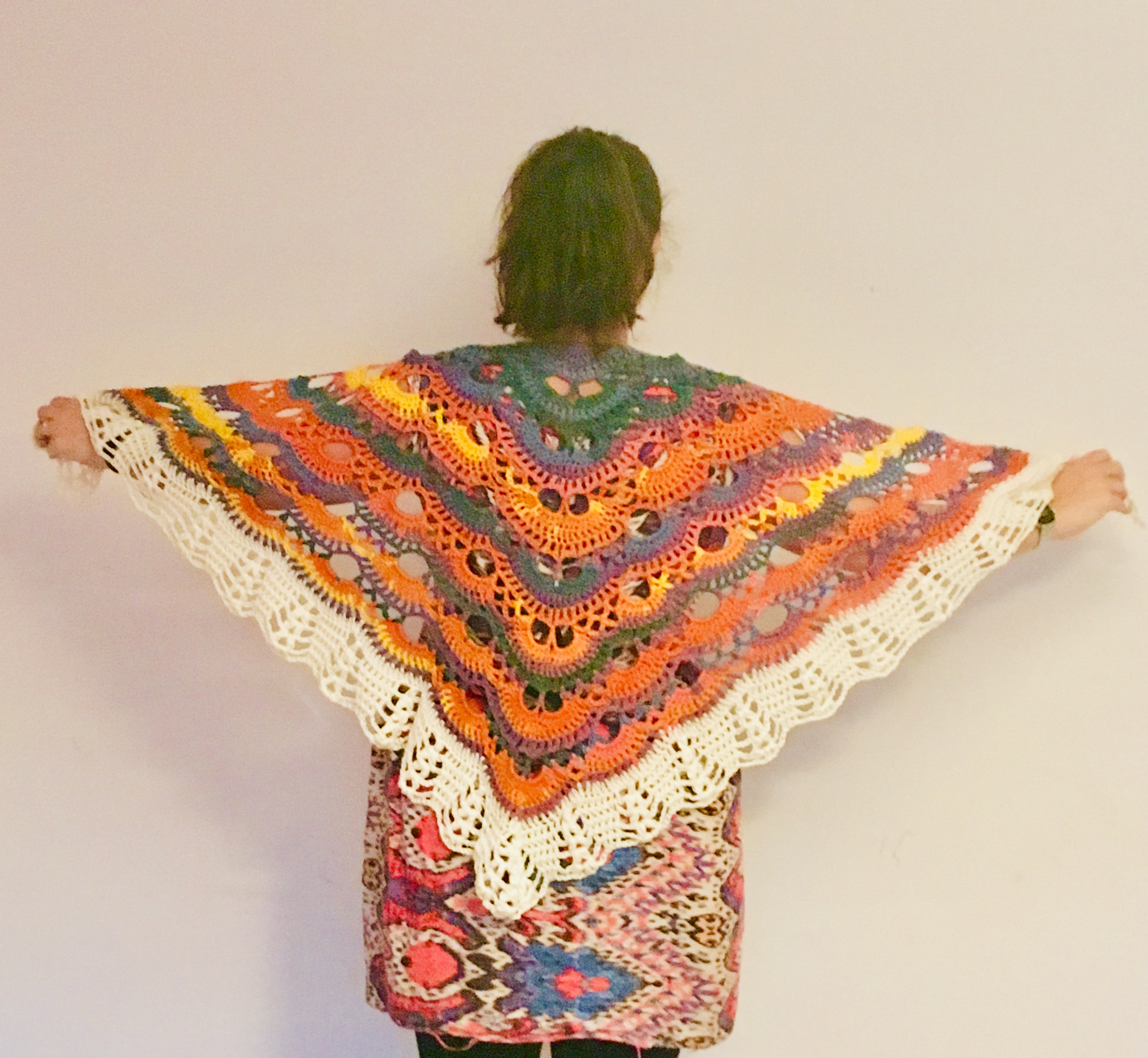 Crochet Lightweight rainbow shawl