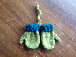 Green and Teal Baby knitted Mittens
