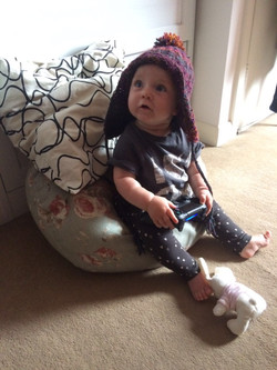knitted Ear flap hat on gaming baby