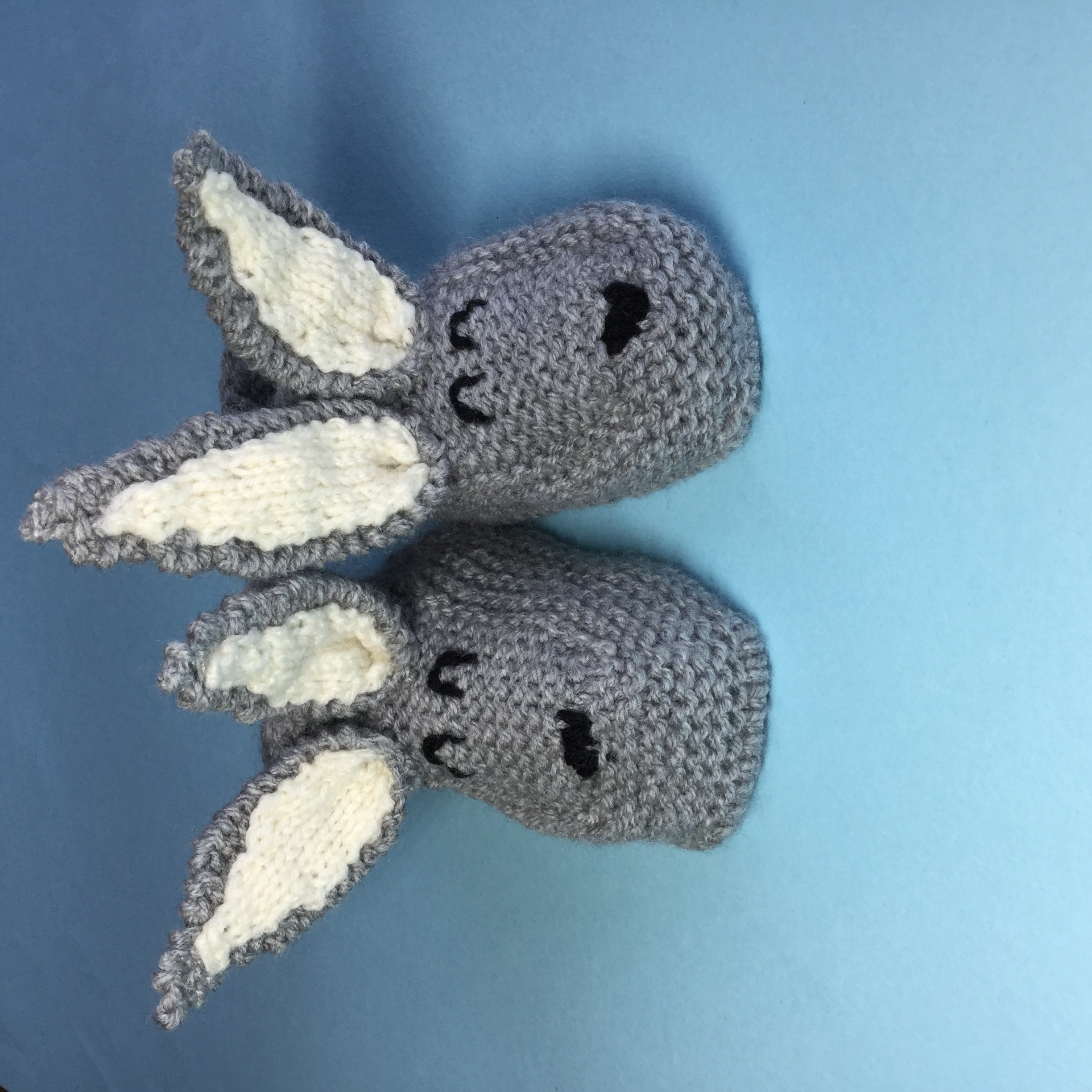 knitted Grey Bunny Slippers