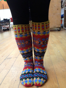 Knee Length knitted Fair Isle Socks