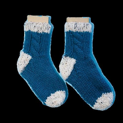 Kids Blue Classic Cable Socks