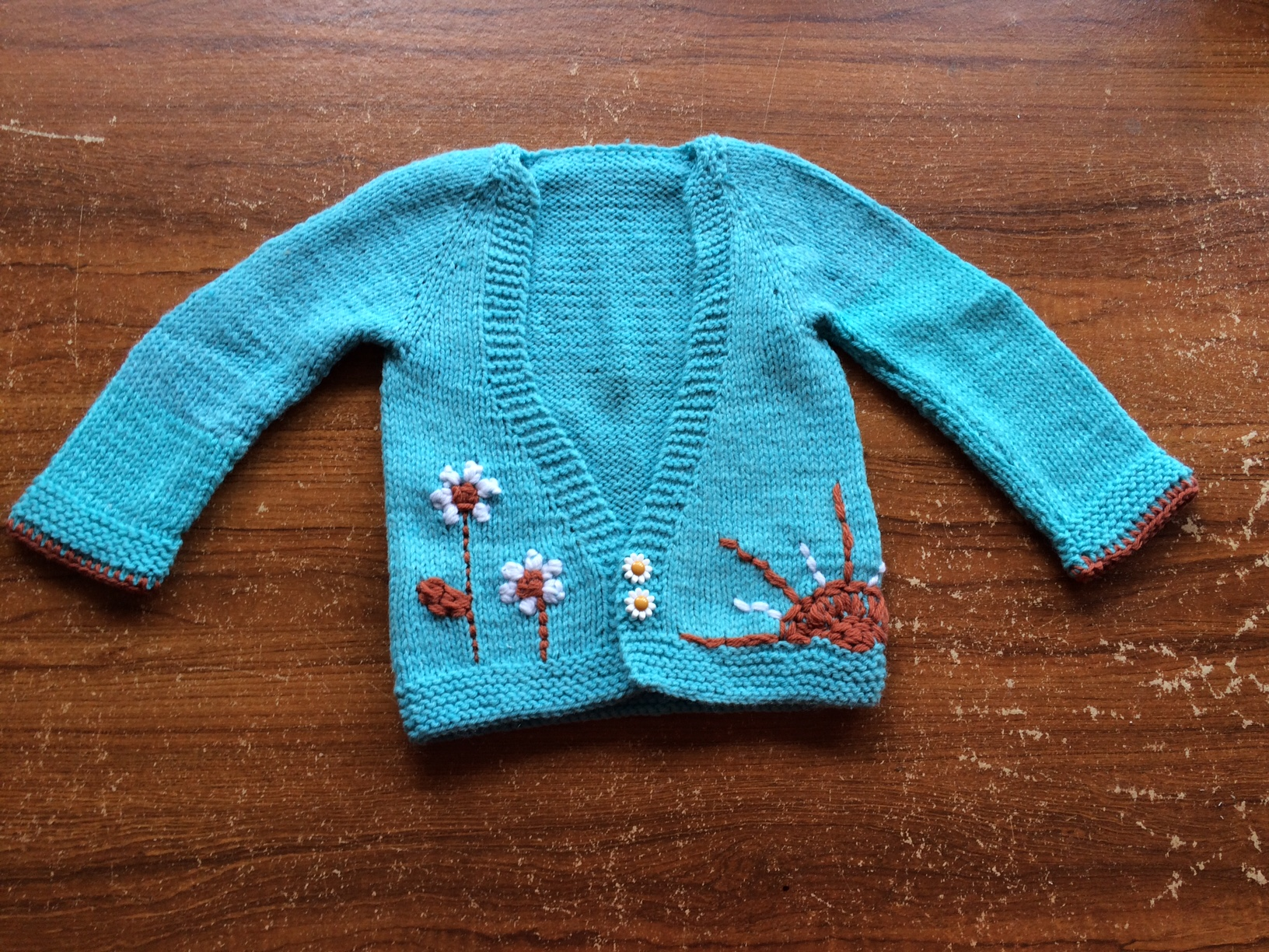 Knitted Sunshine and daisy cardigan