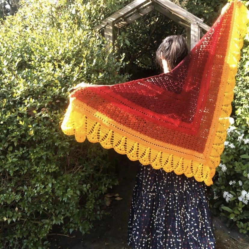 Hand crocheted sunset shawl crochet red orange yellow wrap