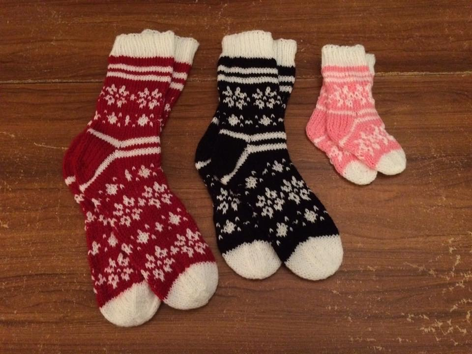 Family Snowflake knitted Socks