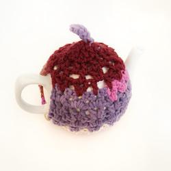 hand crocheted tea cosy purple