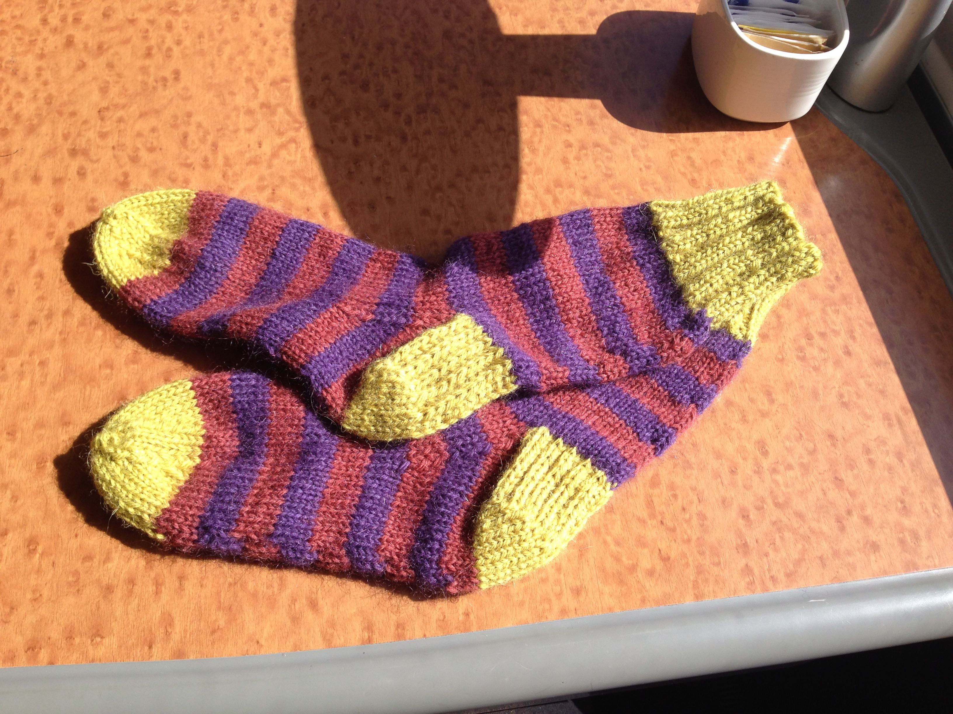 Knitted Purple green striped socks