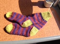 Knitted Purple green striped socks