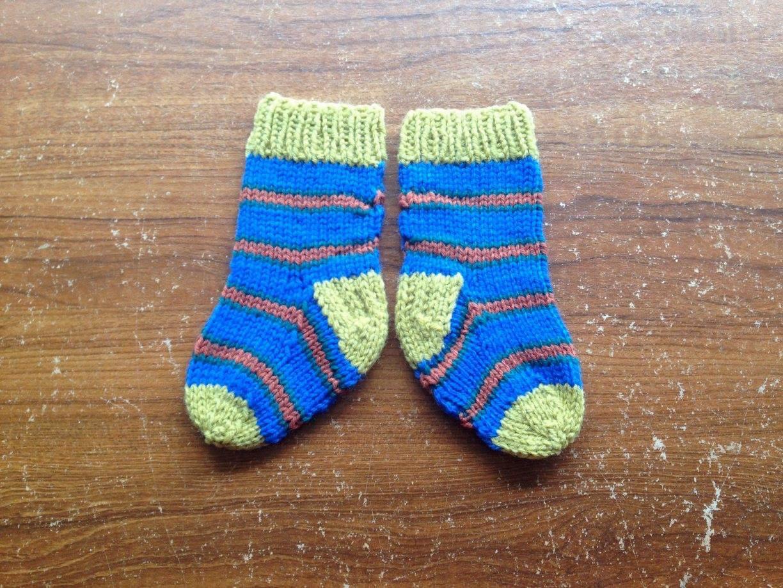 Blue, green knitted stripe socks