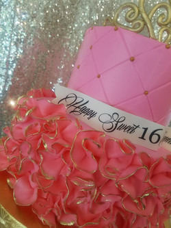 Pink Ruffle Sweet 16 Cake-4