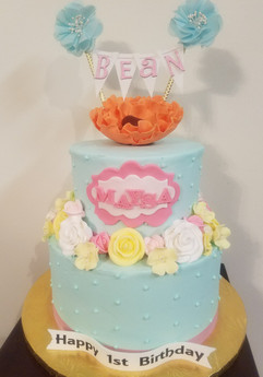 2-Tier Spring Flowers 1st Birthday Cake.
