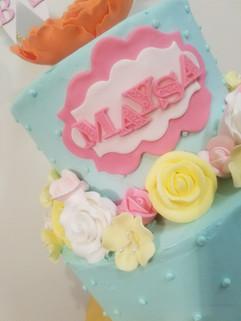 2-Tier Spring Flowers 1st Birthday Cake2