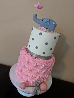 Elephant Themed Baby Shower Cake-Girl.jp