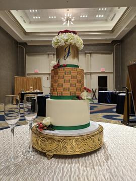 3-Tier Kente Cloth Inspired Wedding Cake