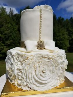 2 Tier Ruffle Rose Cake-3