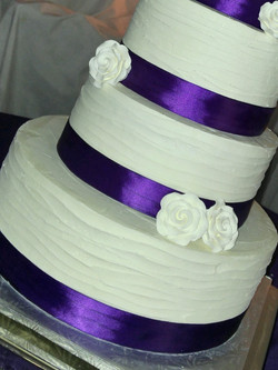 4 Tier Purple Ribbon Wedding Cake-3