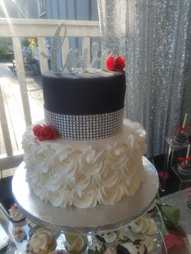 Rosette Bling Wedding Cake.jpg