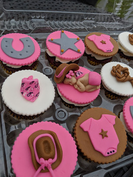 Pink-Baby Girl Western Theme Cupcakes-2.