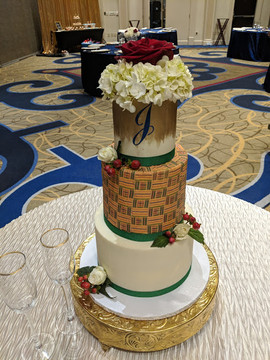 3-Tier Kente Cloth Inspired Wedding Cake