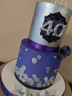 Mini 2-Tier Purple 40th Birthday Cake.jp