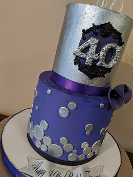 Mini 2-Tier Purple 40th Birthday Cake.jp