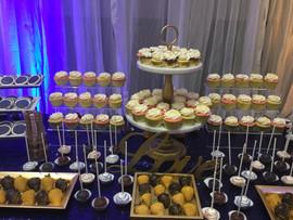 Navy Blue and Gold Anniversary Dessert T