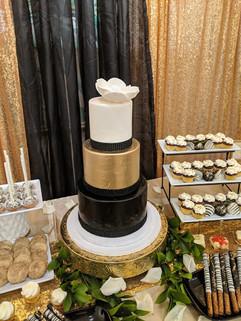 3-Tier Black, Gold, White Wedding Cake.j