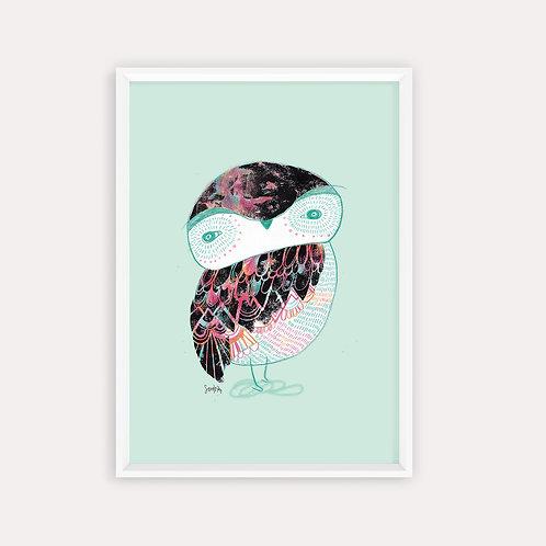 "Framed Print ""Serendipity Black Owl"""