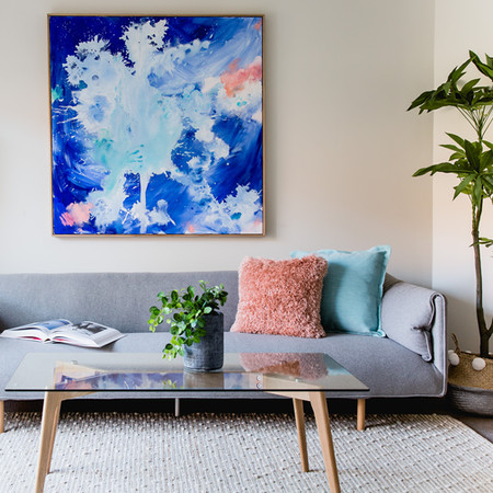 Pink Snapper and Cobalt in a project by Style a Home. Styling: Janine Phillips. Photography: Suzi Appel