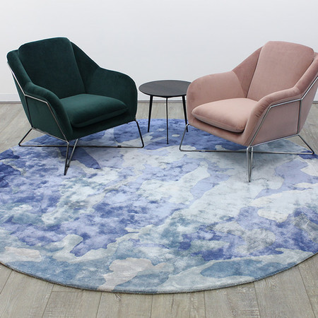 Aqueous round rug designed by Katie McKinnon for The Rug Collection