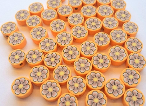 Polymer Clay Coin Beads - 35pc - Mango