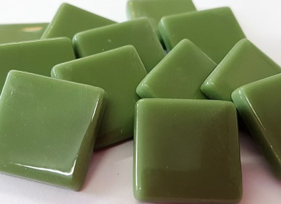 Glass Opaque Squares (23X23mm) Olive