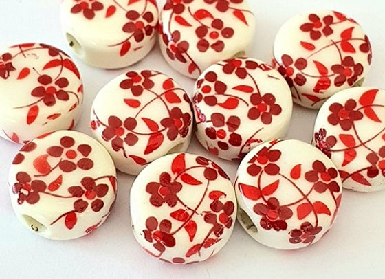 Porcelain Rounds Red Daisy x10pc