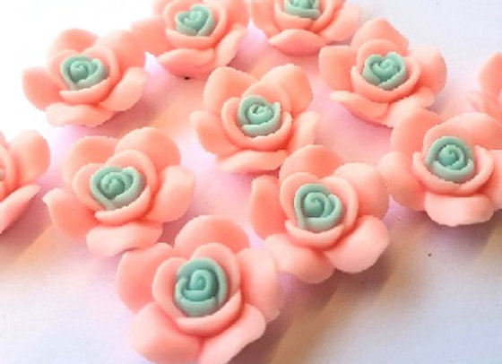 Resin Flowers 22x27x8mm 10pc - Pink