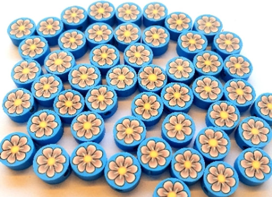 Polymer Clay Coin Beads - 35pc - Blue