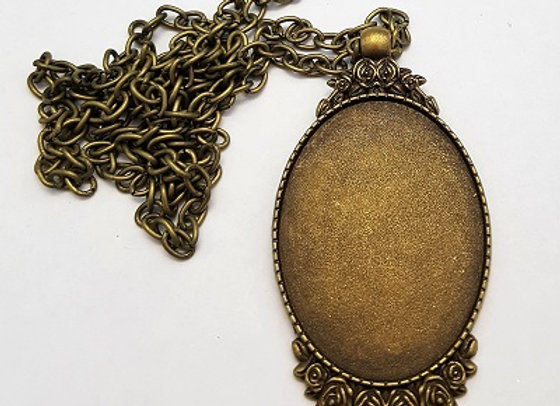 Antique Brass Oval Pendant Case with Chain
