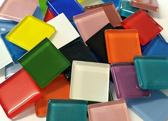1Kg Crystal Glass Squares (23x23mm) Mixed