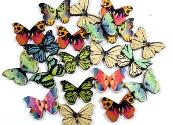 Wooden Butterfly -  Mixed x 20 pieces