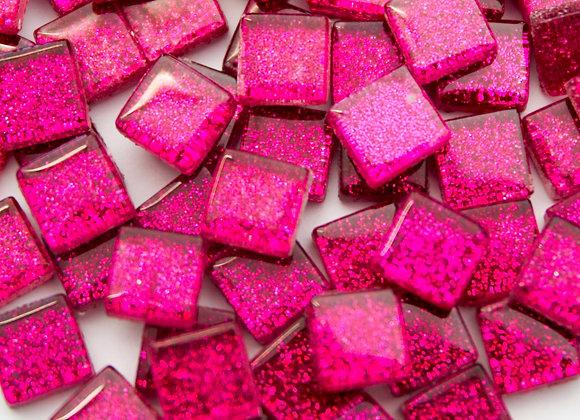 Glitter Tiles (10x10mm) Hot Pink