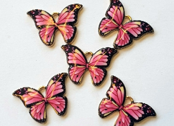 Small Enamel Butterflies Fushia x10pc