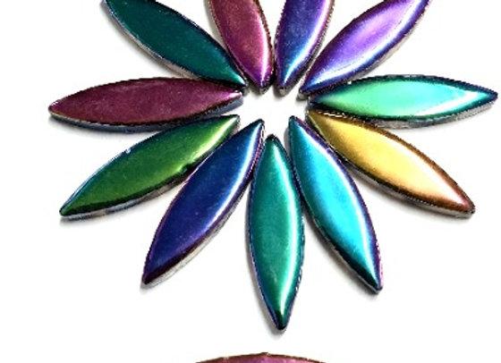 *New - Large Ceramic Petals - Lapis Metallic x12