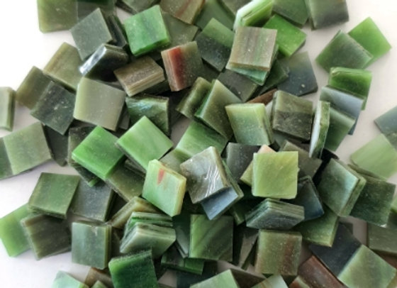 Stained Glass Opaque Squares - 10x10mm - Amazon Green