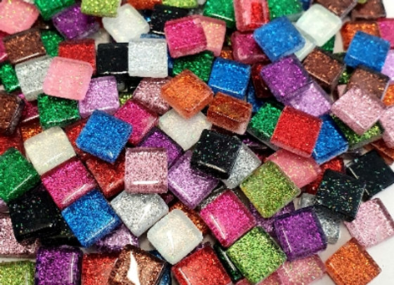 1 Kg Rainbow Glitter Tiles - 10 x 10mm