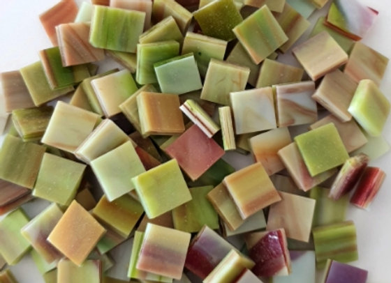 Stained Glass Opaque Squares - 10x10mm -Pistachio