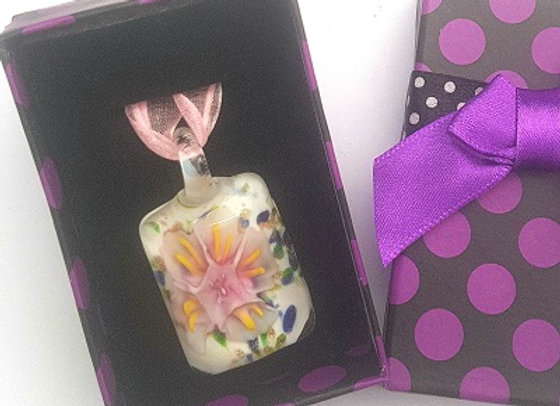 Lamp Work Glass- Pendant with Gift Box - Pink