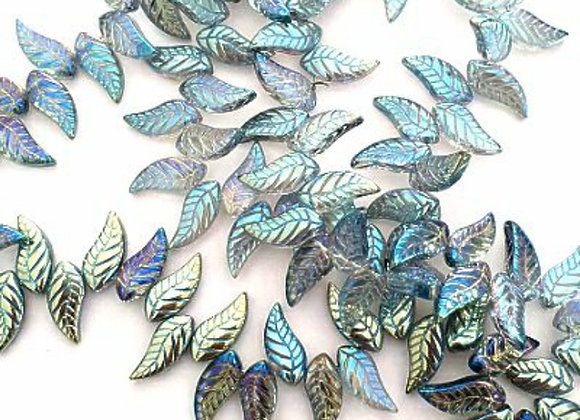 Crystal Leaves - Color plated 8x18x5mm - Sky x50pc