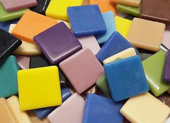 1Kg Glass Opaque Squares (23X23mm) Mixed
